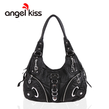 Angel Kiss Women Washed PU Leather Work Tote Zipper Closure Shoulder Bag Large Capacity Top Handle Hobo Satchel Bag for Female