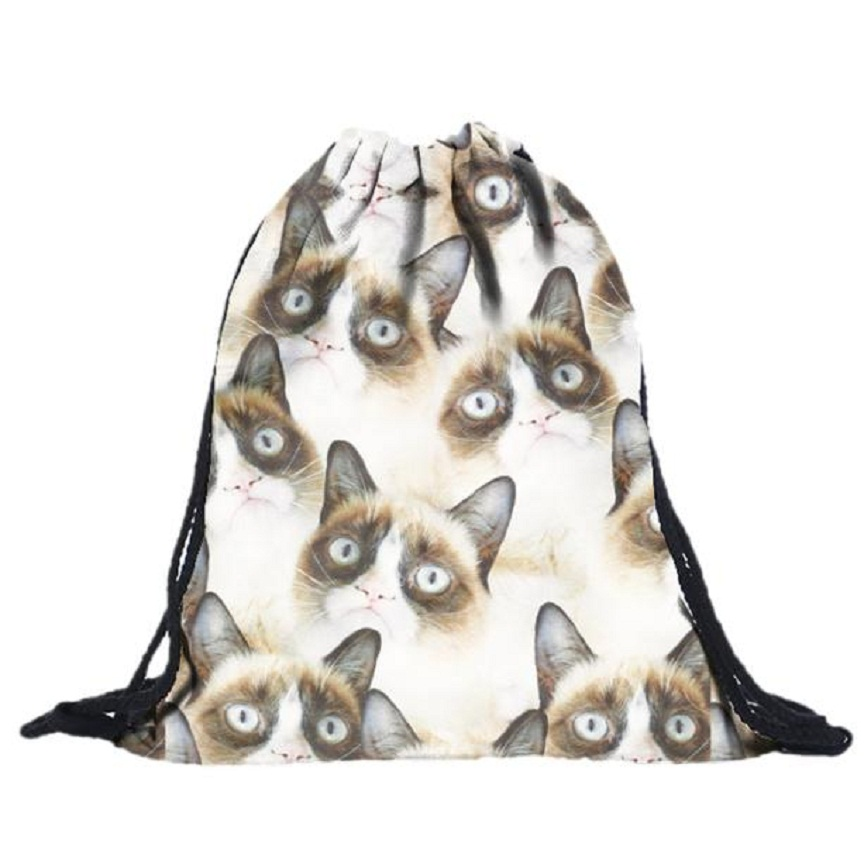 Naivety 2016 New Unisex White Little Cat Heads 3D Printing Drawstring Backpack Bags AUG25 drop shipping<br><br>Aliexpress
