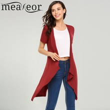 Meaneor Women's Short Sleeve Cardigans Spring Autumn New Fashion Casual V-Neck Open Front Solid Irregular Feminino Sweater Tops