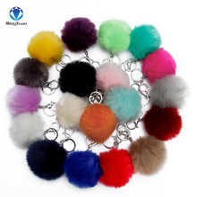 2017 1pcs Fake Fur Brand Bag Keychain 8cm Pompom Car Keyring Silver Chains pompons Fake Fox Rabbit Fur Charms Chain(China)