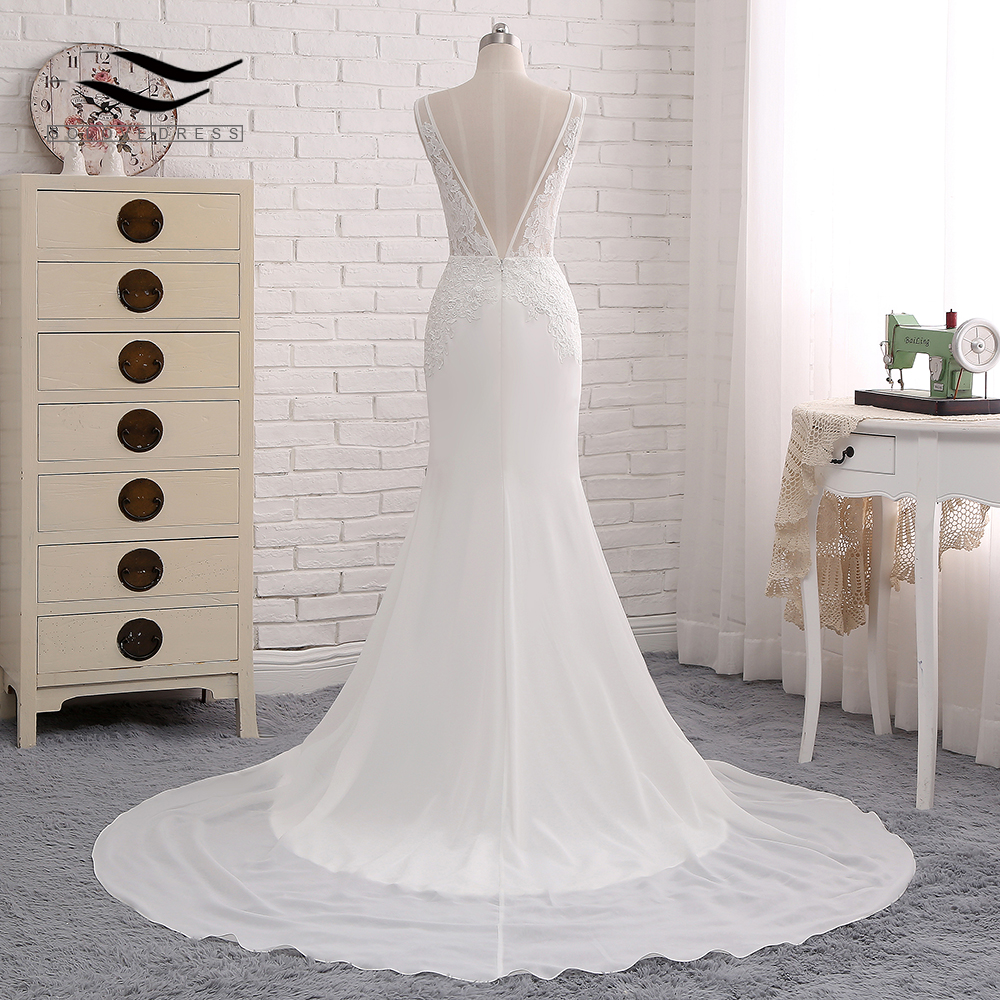 Sexy Chiffon Chapel Train Long Cap Sleeves Wedding Dress Mermaid Real Photos Bridal Gown 2018 SLD-W593 4