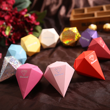 (10 Color) 100pcs Diamond Candy Box Wedding Favour Boxes Red Gold Silver Sweet Gift Box Casamento Wedding Favors and Gifts 2016