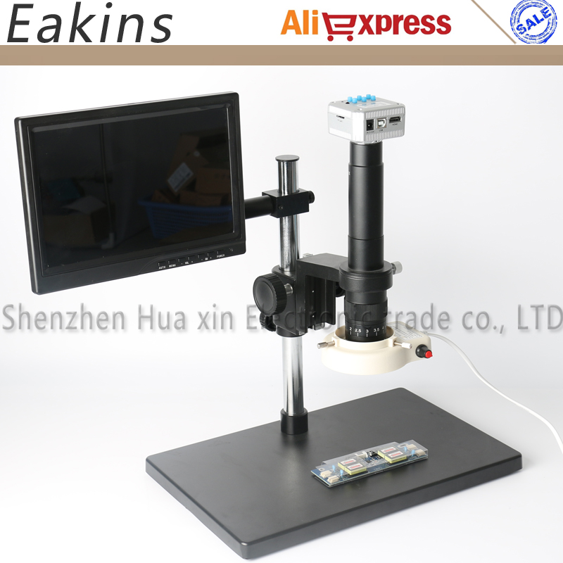 Industrial Microscope Camera set 16MP 1080P 60Fps HDMI USB microscope camera 300X C Mount Lens LED light microscope Stent