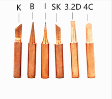 Free shipping 6Pcs/lot pure copper Iron tip 900M-T soldering tip for hakko soldering rework station soldering iron station(China)