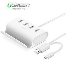 Ugreen Micro USB 4 Port OTG HUB with Phone Stand USB 2.0 Adapter Splitter  External Power Supply for Tablet Macbook Phone PC
