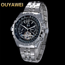 OUYAWEI new fashion watch Swiss man waterproof high-grade brand Geneva leisure men's steel belt mechanical watch(China)