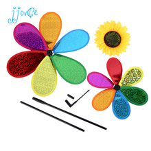Dual Layers Laser Sunflower Pinwheels Toy Home Outdoor Decor DIY Windmill Gift for Kids(China)