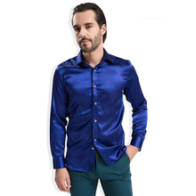 2016 Autumn New Silk Imitation Men Dress Shirt Slim Fit High-end Silky Fabric Business Men Casual Long Sleeve Social Shirt