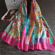 City Character Stylish Women Scarf Classical Wraps Color patchwork Shawls Imitated Silk Bandana New
