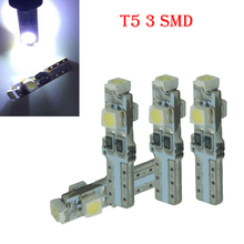 CQD-Light 4pcs Car Auto LED T5 3 led smd 3528 Wedge LED Light Bulb Lamp 3SMD Instrument Light White Red Green Yellow Blue