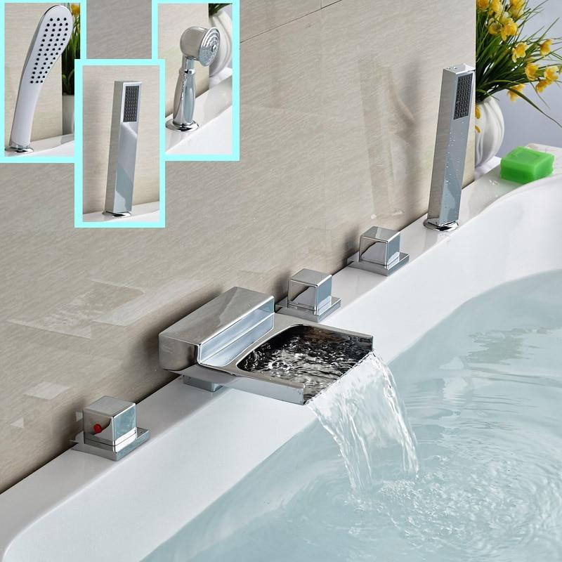 Polished Chrome Waterfall Bathtub Faucet Three Handles Widespread Mixer Taps for Bath Tub Deck Mount<br><br>Aliexpress