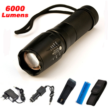 6000Lumens X900 Flashlight CREE XM-L2 Flash Light High Power Torch Zoomable LED Flashlight Torch light For 3xAAA or 1x18650(China)
