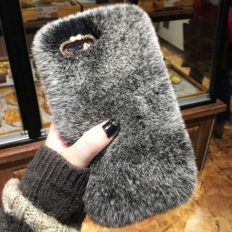 Luxury Rabbit Fur & Bling Diamond Bow iPhone Case