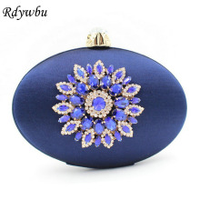 Rdywbu High Quality Crystal Metal Flower Applique Navy Faux Diamonds Wedding Party Cocktail Prom Evening Bag Dress Handbag SJ180