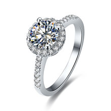 1CT Round Moissanite Diamond Wedding Ring For Women Anniversary Clarity VVS1 Enhanced Quality White Gold Cover(China)