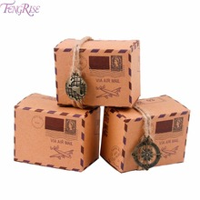 FENGRISE 50pcs/Pack Vintage Candy Box With Compass n Globe Kraft Wedding Gift Box Valentines Day Birthday Wedding Party Favors(China)