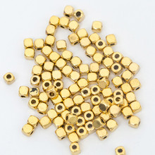 100pcs 3.5*3mm Loose Cube Beads Gold/Silver Plated Metal Spacer Beads Jewelry Findings Accessories DIY Bracelets Necklace Making