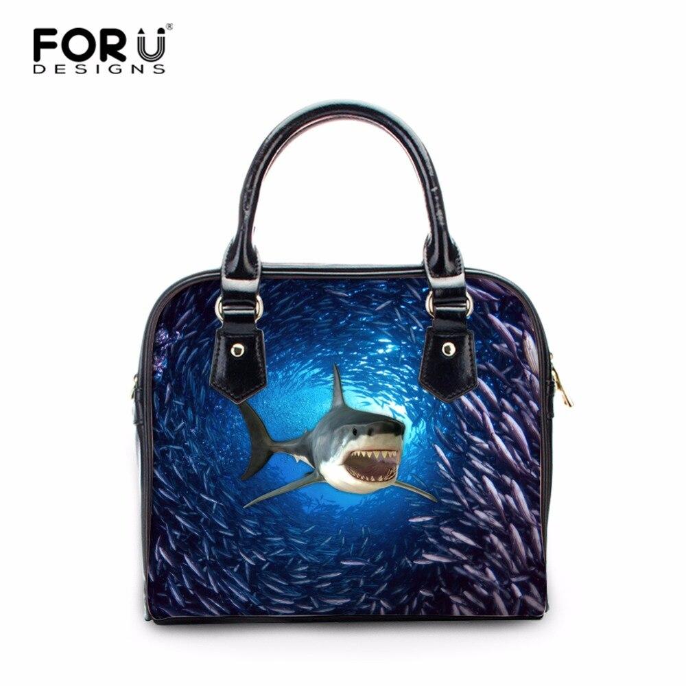 FORUDESIGNS 3D Shark Print Women Handbag Casual Bags Ladies PU Houlder Bags Female Animal Pattern Crossboday Bags 26*21*10CM<br>