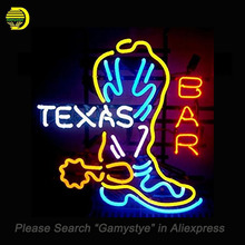 NEON SIGN For Texas Boot Bar Neon Bulbs Sign We Use retail signage HANDmade LOGO hanging neon signs vintage personalised light(China)