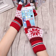 Popular Warm Winter Thick Gloves Wool Knitted Women Cold Winter Glove Snowflake Full Finger Mittens Mitaine Luvas(China)