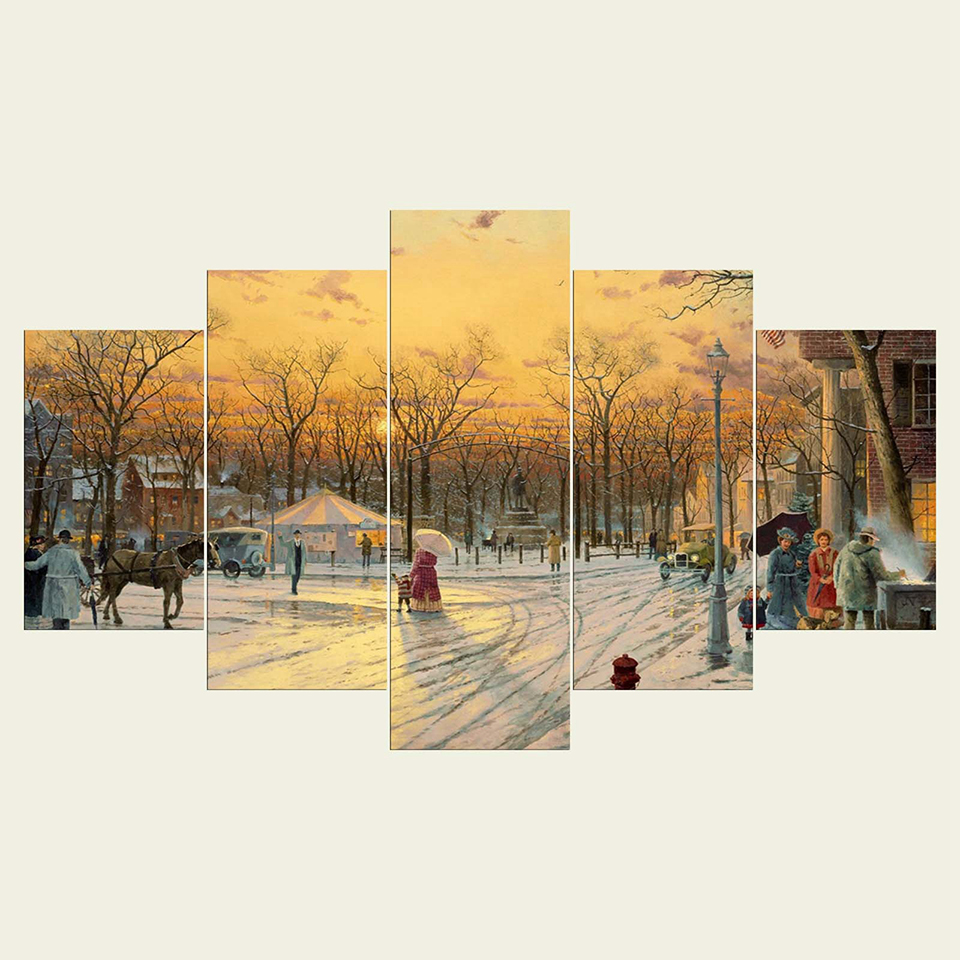 Wall-Art-Home-Decor-Framework-Painting-Canvas-Poster-5-Panel-Tree-Snow-Landscape-For-Living-Room