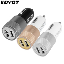 10PC/LOT KOYOT Mini Dual Port USB Car Charger 2.4A Fast Charge Smart Light Car Phone Charger For iPhone 7 6S Samsung Universal(China)