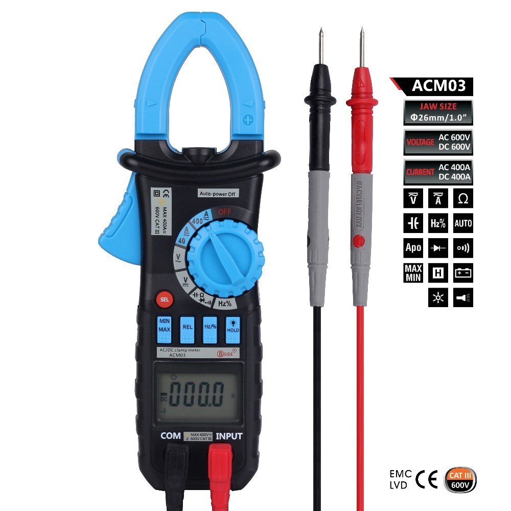 ACM03 4000 Counts Digital Clamp Meter Clamp Multimeter DC/AC Voltmeter Current Meter Resistance Capacitance Frequency Tester<br>