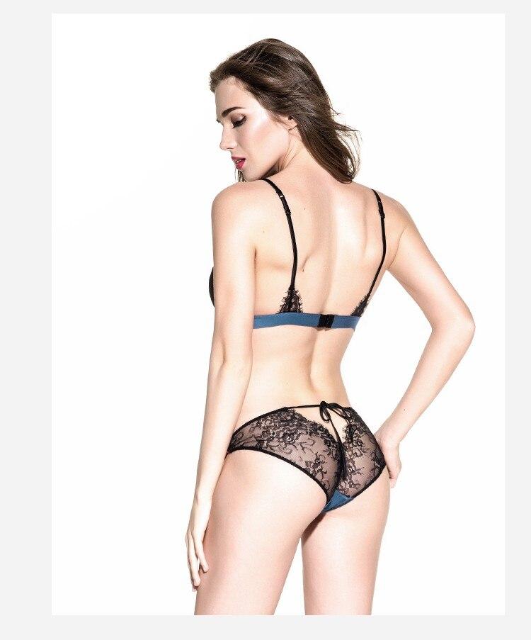 Munllure Ultra-thin sexy lace bra set eyelash lace transparent thin wireless triangle bra and pantiles set women underwear set 2