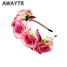AWAYTR 2017 Hot Sale Women Bride Wedding Flower Garland Hairbands Bohemian Romantic Style Floral Headband Hair Accessories