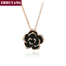 Buy ZHOUYANG Top ZYN021 Big Black Rose Rose Gold Color Pendant Necklace Jewelry Austrian Crystal Wholesale for $2.89 in AliExpress store
