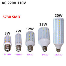 led bombillas lamp SMD 5730 5W 7W 12W 15W 20W E14 B22 E27 dimmable led corn bulb candle 220V 110V white/warm white(China)