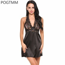 Buy Summer Sleep Wear Dress Women Halter Lingerie Sexy Hot Erotic Babydoll Female Satin Lace Nightgown Porn Sleepwear Negligees Red