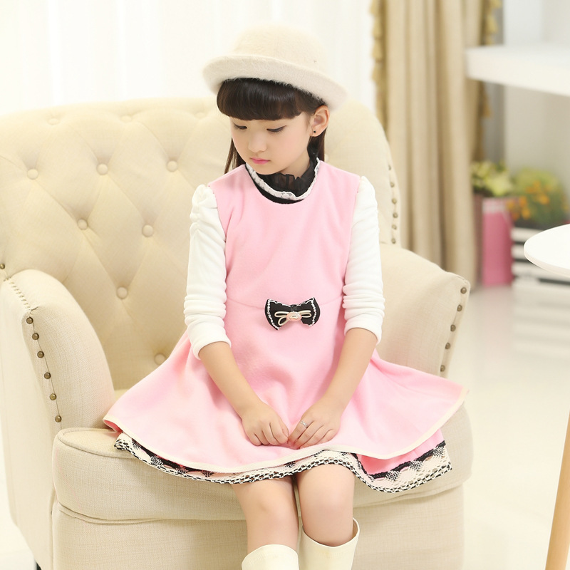 Autumn And Winter New Product Childrens Garment Girl Bow Lace Girl Heavy Woolen Cloth 2 Pieces Kids Clothing Sets<br>