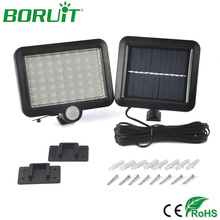 Boruit Smart PIR Human Sensor Solar Lamp 56 Led Solar Light Spotlight Waterproof Outdoor Garden Street Light Wall Lamp White(China)