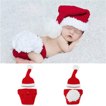 Newborn Baby Santa Claus Photo Props Infant Baby Christmas Hat Diaper Set Crochet Baby Hat Shorts Set for Photo Shoot MZS-14032