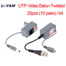 LOFAM 20pcs 10Pairs Video Balun Transceiver BNC UTP RJ45 With Video And Power Over CAT5/5E/6 Cable For HD CVI/TVI/AHD Camera DVR