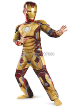 Children yellow the avengers Iron man costume with muscle stretchy party clothes Fancy dress clothing for kid(China)