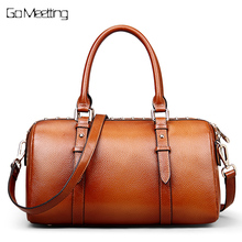 Go Meetting Genuine Leather Vintage Women's Handbags High Quality Cowhide Shoulder Bags Women Rivet Boston Messenger Bag Totes