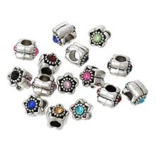 Buy DoreenBeads European Charm Beads Flower Random antique silver Rhinestone 10mm x 10mm,Hole: Approx 4.5cm,10 PCs for $1.48 in AliExpress store