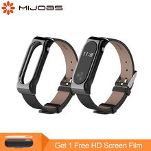 Buy Mijobs Genuine Leather Strap Xiaomi Mi Band 2 Smart Watch Screwless Wrist Strap Miband 2 Bracelet Wrist Strap Mi Band 2 for $6.99 in AliExpress store