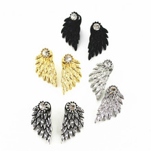 2016 Free Shipping New Fashion Women's Jewelry Feather wings stud earrings Lady Accessories Gold Girl Earrings Party Gift