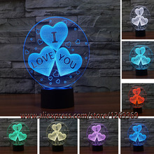 2017 I LOVE YOU Sweet Lover Heart Balloons 3D LED USB Lamp Romantic Wedding Room Decoration Colorful Night Light Girlfriend Gift