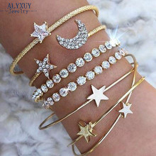 New fashion trendy jewelry star moon heart crystal cuff bangle party gift for women B3537