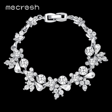 Buy Mecresh Flower Crystal Bracelets Wome Silver/Gold-Color Rhinestones Bridal Pulseiras Fashion Wedding Party Jewelry SL079 for $4.41 in AliExpress store