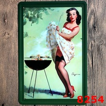 Custom Neon Sign Barbecue Girl Vintage Metal Tin Signs Retro Tin Plate Sign Wall Decoration for Cafe Bar Shop and Restaurant