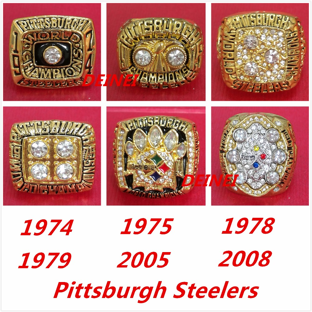 1974 1975 1978 1979 2005 2008 all Pittsburgh Steelers Super Bowl replic championship rings,size 8-13 on sale(China (Mainland))