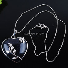 "Free Shipping Blue Sand Gem stone Heart Silver Plated Reiki Chakra Pendant Beads Necklace Chain 17.5"" Jewelry PN1018(China)"