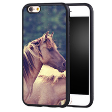 Wild Horses Pattern Soft Rubber Mobile Phone Cases OEM For iPhone 6 6S Plus 7 7 Plus 5 5S 5C SE 4 4S Cover Bags Skin Shell