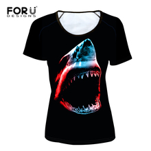 FORUDESIGNS Black Summer Short Sleeve Cool Animal Shark Tshirt for Women Printing 3D Ladies Eagle T-shirt Personalized T Shirt(China)