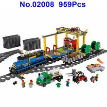 02008 959Pcs City Explorers Cargo Train Forklift Truck Crane RC Remote Control Lepin Building Block Compatible 60052 Brick Toy